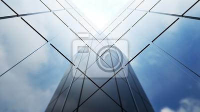Obraz Niskiego kąta widok rodzajowi nowożytni biurowi drapacze chmur, wysocy budynki z abstrakcjonistycznej geometrii szklanymi fasadami na jaskrawym słonecznym dniu. Koncepcje finansów i ekonomii w tle. 3d