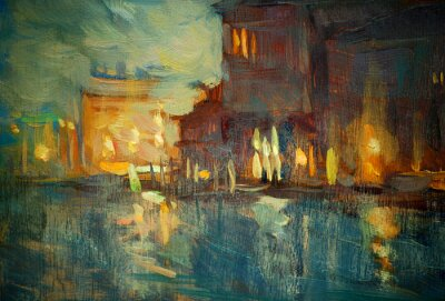 Obraz noc do Wenecji, malarstwem przez olej na płótnie, ilustracji