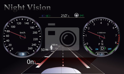 Nocna wizja. Deska rozdzielcza samochodu, nowa technologia. Projekcja, obrotomierz.
