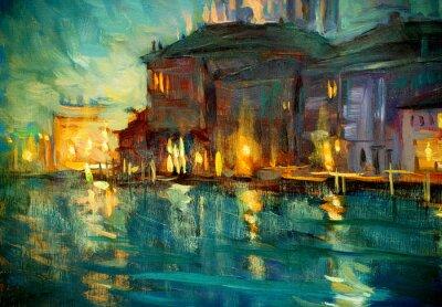 Obraz Nocny krajobraz z Wenecji, malarstwem przez olej na sklejce, Illustrat