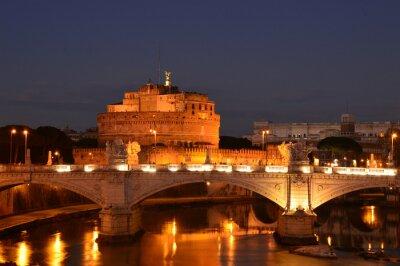 Obraz Nocny krajobraz z Zamku Świętego Anioła w Rzymie - Włochy