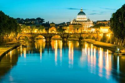 Obraz Nocny widok na katedrę św Piotra w Rzymie