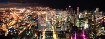 Nocny widok na panoramę Chicago