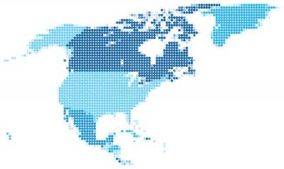 Obraz North America dotted blue
