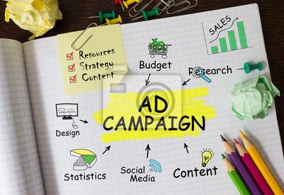 Obraz Notebook z Toolls i uwagi dotyczące kampanii reklamowej