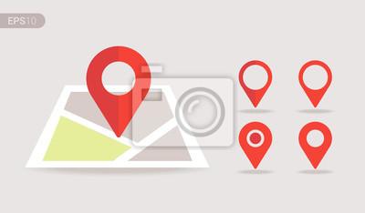Obraz Nowa płaska mapa lokalizacji z czerwoną pinezką, etykietą, znacznikiem, znakiem. Nowożytny wektor EPS 10.