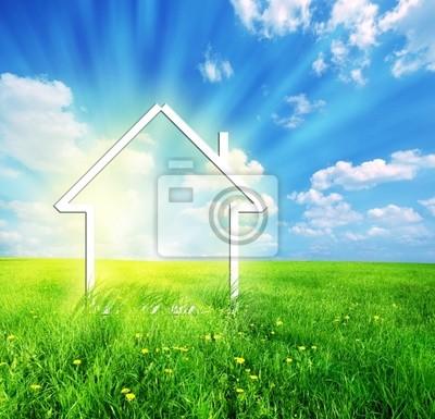 Nowa wyobraźnia dom na zielonej łące