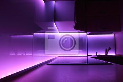 Nowoczesna Kuchnia Luksus Z Fioletowym Oświetlenie Led Obrazy Redro