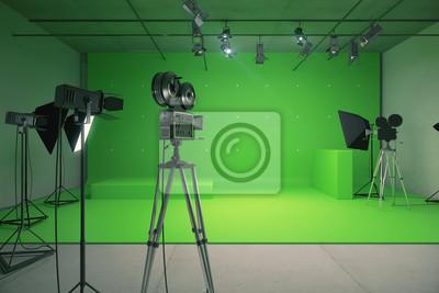 Obraz Nowoczesna pusty zielony studio fotograficzne w starym stylu filmowego kamery