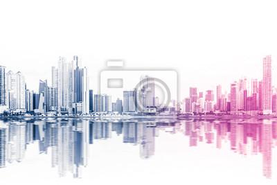 Obraz nowoczesne budynki streszczenie wieżowiec streszczenie styl na białym tle -