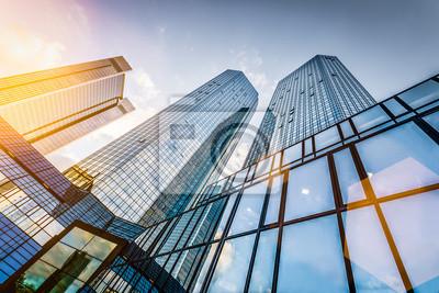Obraz Nowoczesne wieżowce w dzielnicy biznesowej na zachodzie słońca