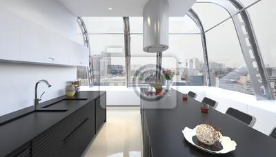 Nowoczesne Wnętrza Kuchnia Design W Kolorze Białym Obrazy Redro