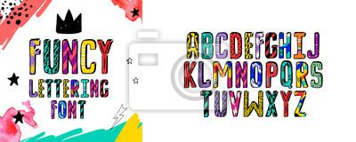 Obraz Nowoczesny alfabet fantazyjny. Odręczne litery czcionki. Czcionki czcionki strony do projektowania: kaligrafia ślubna, logo, hasło, pocztówka dekoracyjna, pozdrowienia, cytaty motywacyjne, pozytywna w
