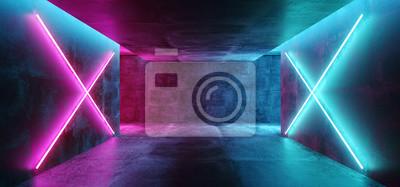 Obraz Nowoczesny futurystyczny klub koncepcyjny Sci Fi Tło Grunge betonowy pusty ciemny pokój z neonowymi świecącymi fioletowymi i niebieskim różowymi neonami renderowania 3D