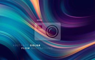 Obraz Nowoczesny kolorowy plakat przepływu. Fala płynny kształt w kolorze czarnym tle. Projekt artystyczny dla twojego projektu. Ilustracji wektorowych