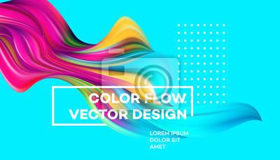 Obraz Nowoczesny kolorowy plakat przepływu. Fala płynny kształt w kolorze niebieskim tle. Art Design dla twojego projektu. Ilustracji wektorowych