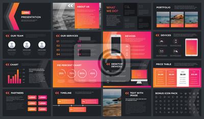 Obraz Nowoczesny szablon prezentacji ciemności. Możesz go wykorzystać do prezentacji, ulotki i ulotki, raportu firmowego, marketingu, reklamy, raportu rocznego, katalogu.