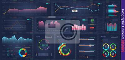 Nowożytny nowożytny infographic wektorowy szablon z statystyki wykresami i finansowymi mapami. Diagram szablon i wykres wykres, ilustracja wizualizacji informacji graficznych