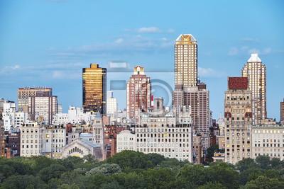 Nowy Jork linia horyzontu nad central park przy zmierzchem, usa.