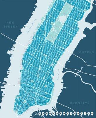 Obraz Nowy Jork Mapa - Dolna i Mid Manhattan. Bardzo szczegółowe mapy wektorowe tym wszystkich ulic, parków, nazw subdistricts, punkty zainteresowania, etykiety, dzielnic.