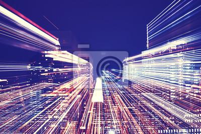 Nowy Jork niewyraźne noc skyline z futurystycznym efekt zoom, streszczenie tło miejskie, tonowanie kolorów stosowane.