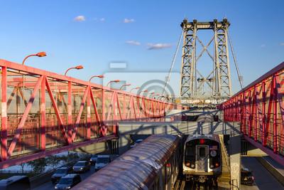 Nowy Jork pociągi metra przekroczeniu mostu w Williamsburgu między Manhattan i Brooklyn