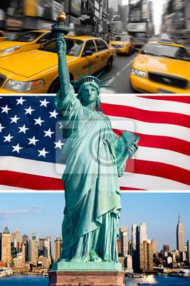 Nowy Jork, pomnik de la Liberté, taxi, skyline