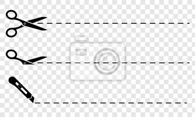 Obraz Nożyczki. Zestaw czarnych nożyczek z ciętymi liniami
