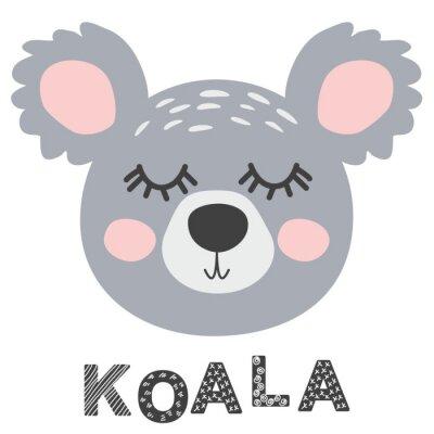 Obraz Nursery poster with cute animal. Black and white koala. Scandinavian style