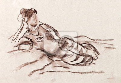 Obraz O dziewczyna reszta w pasiastych spodniach