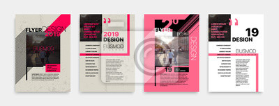 Obraz Obejmuje szablony z graficznymi elementami geometrycznymi w stylu bauhausu. Dotyczy ulotek, raportów rocznych, plakatów, broszur, plakatów, banerów. Ilustracje wektorowe.