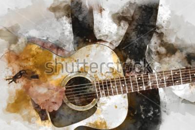 Obraz Objęta piękna kobieta bawić się gitarzysty w przedpolu. Zamknij się, akwarela malarstwo tła i cyfrowy pędzel ilustracja do sztuki.