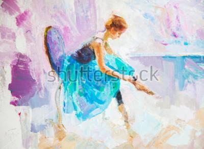 Obraz obraz olejny, dziewczyna baleriny. objęte słodkie baleriny taniec