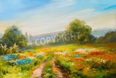 Obraz obraz olejny krajobraz, kolorowe pola kwiatów, abstrakcyjne impresjonizmu
