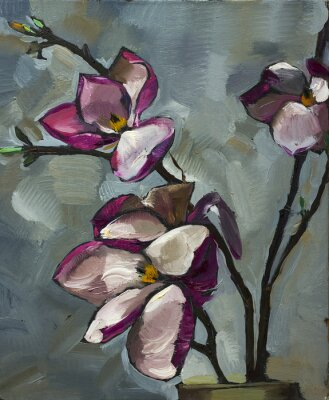 Obraz Obraz olejny Martwa natura z purpurowe kwiaty magnolii na płótnie z teksturą w odcieniach szarości