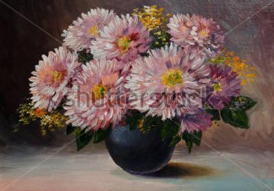 Obraz Obraz olejny na płótnie - martwa natura kwiaty na stułę