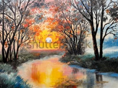 Obraz obraz olejny na płótnie - rzeka