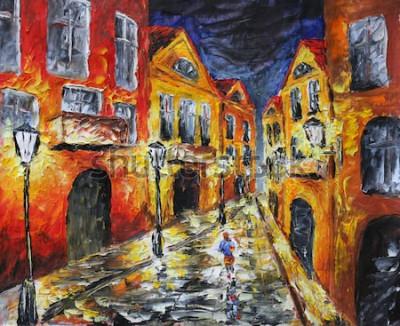 Obraz Obraz olejny na płótnie. Stare miasto w nocy. Grafika Żółty budynek. Lampy. Mężczyzna chodzi po mieście nocą. Impresjonizm. Sztuka.