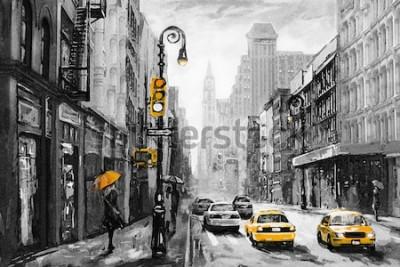 Obraz obraz olejny na płótnie, widok na ulicę Nowego Jorku, kobieta pod parasolem, żółta taksówka, nowoczesna grafika, amerykańskie miasto, ilustracja Nowy Jork