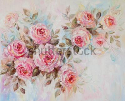 Obraz Obraz olejny, róże, kwiaty