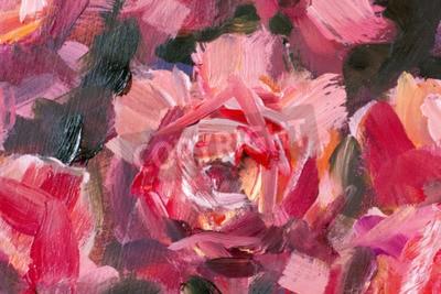 Obraz Obraz olejny z bliska kwiat. Duży czerwony fiołek kwitnie różanego peoni zbliżenie makro- na kanwie. Nowoczesny impresjonizm. Grafika Impasto.