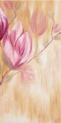 Obraz Obraz olejny z kwiatami magnolii wiosną