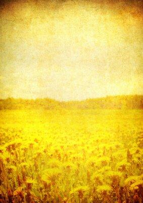 Obraz Obraz pola kwitnących nad zabytkowe papieru