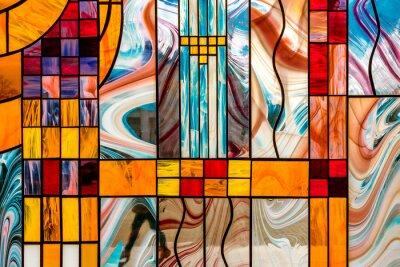 Obraz obraz wielobarwnego witrażu z nieregularnym wzorem bloku, abstrakcyjny wzór na szkle, trend, wielokolorowe tło geometryczne