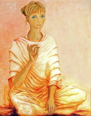 Obraz Obraz z młoda kobieta w medytacji