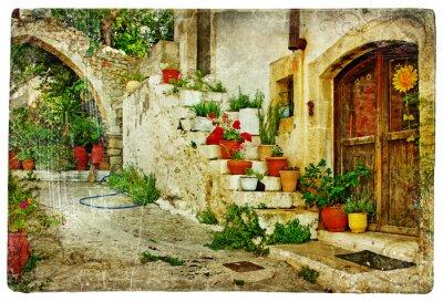obrazkowych greckie wioski (Lutra) - grafiki w stylu retro