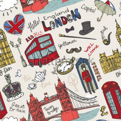 Obraz Obsługiwany londyński punkt zwrotny, pisze listę w kompleksowym wzorze Doodle ręcznie przygotować szkicowy. Ogromni architektoniczni zabytki, znak, symbole. Anglia, ikony, tło, tło, tapeta, tkanina