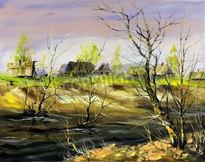 Obraz Obszarów wiejskich dom na brzegu rzeki, w okresie zimowym