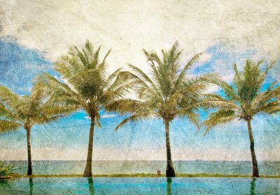 Obraz odbicia palmy w basenie
