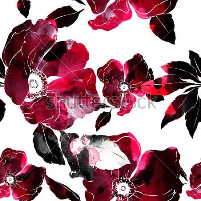 Obraz odciski kwitnące dzikiej róży wzór. abstrakcyjna akwarela i cyfrowy ręcznie przygotowany obraz. grafika w mieszanych materiałach na tekstylia, tkaniny, pamiątki, opakowania i opakowania z życzeniami.